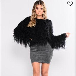 Fashion Nova Jasmine Fuzzy Black Sweater